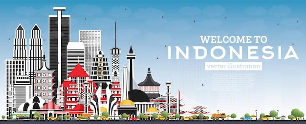 Добро пожаловать на горизонт индонезии с серыми зданиями и голубым небом. городской пейзаж индонезии с достопримечательностями. джакарта. сурабая. бекаси. бандунг.