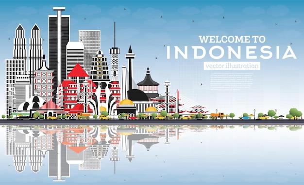 Добро пожаловать на горизонт индонезии с серыми зданиями, голубым небом и отражениями, иллюстрация, концепция туризма с исторической архитектурой