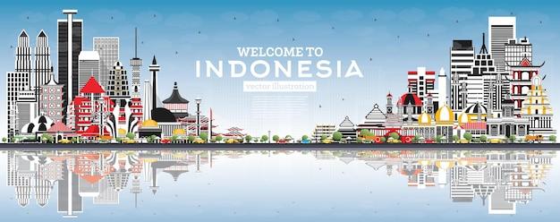Добро пожаловать на горизонт индонезии с серыми зданиями, голубым небом и отражениями
