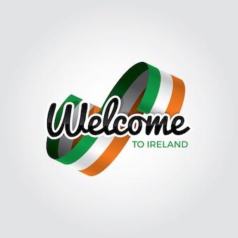아일랜드에 오신 것을 환영합니다, 흰색 배경에 벡터 일러스트 레이 션