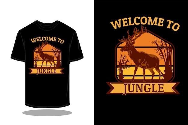 정글 복고풍 티셔츠 디자인에 오신 것을 환영합니다.