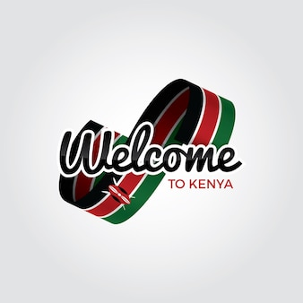 Добро пожаловать в кению, векторные иллюстрации на белом фоне