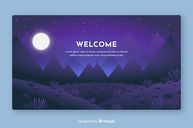 Добро пожаловать на целевую страницу с градиентным пейзажем