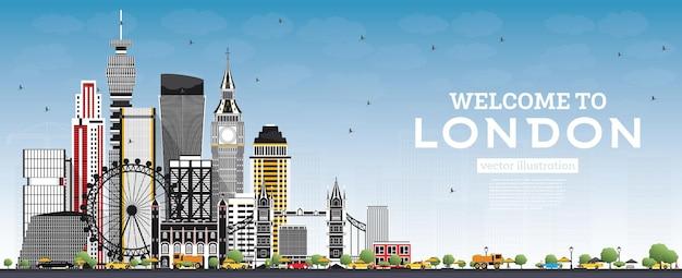 회색 건물과 푸른 하늘이 있는 런던 영국 스카이라인에 오신 것을 환영합니다. 벡터 일러스트 레이 션. 현대 건축과 비즈니스 여행 및 관광 개념입니다. 랜드마크가 있는 런던 풍경.