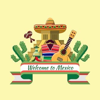 Добро пожаловать в мексику. мексиканская еда, перец чили кактус.