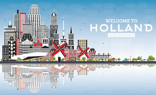 회색 건물과 푸른 하늘이 있는 네덜란드 스카이라인에 오신 것을 환영합니다. 삽화. 역사적인 건축과 관광 개념입니다. 랜드마크가 있는 도시 풍경. 암스테르담