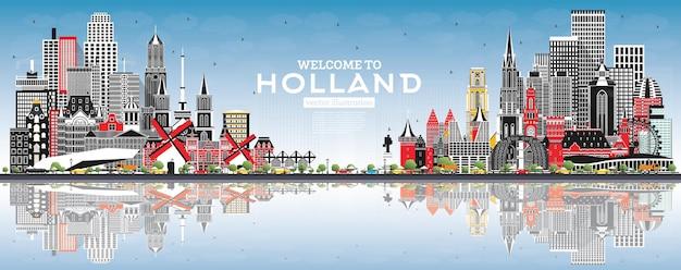 회색 건물과 푸른 하늘이 있는 네덜란드 스카이라인에 오신 것을 환영합니다. 벡터 일러스트 레이 션. 역사적인 건축과 관광 개념입니다. 랜드마크가 있는 도시 풍경. 암스테르담. 로테르담. 헤이그. 위트레흐트