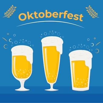 Добро пожаловать на октоберфест и фестиваль пива на синем фоне