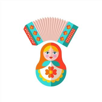 러시아에 오신 것을 환영합니다. 러시아 마트료시카 인형과 아코디언.