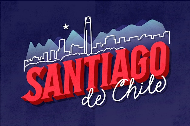 산티아고 데 칠레 글자에 오신 것을 환영합니다