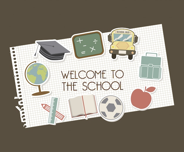 茶色の背景の上に学校に歓迎ベクトル図