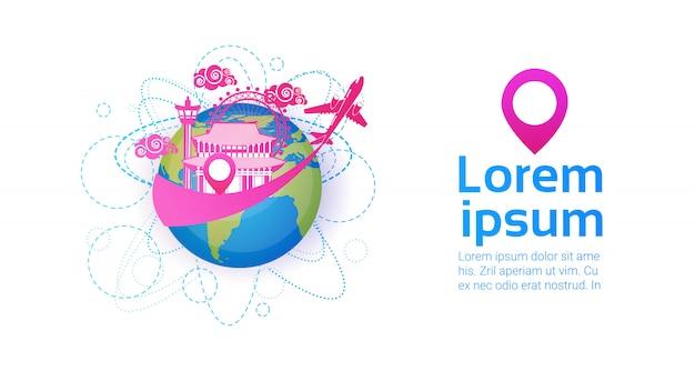 탑 랜드 마크 여행 및 휴가 목적지 개념으로 한국 세계 지구에 오신 것을 환영합니다