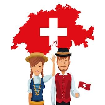 전통적인 사람들과 실루엣 플래그지도와 스위스에 오신 것을 환영합니다