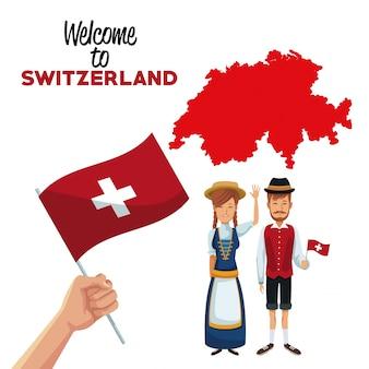전통적인 사람들이 손을 잡고 깃발과 실루엣 빨간지도와 스위스에 오신 것을 환영합니다