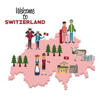 실루엣지도에서 전통적인 사람들과 스위스에 오신 것을 환영합니다
