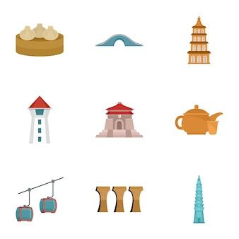 Добро пожаловать в тайвань набор иконок, плоский стиль