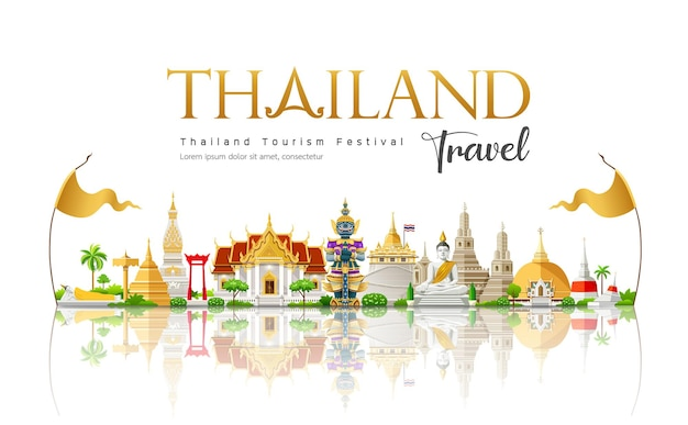 タイの美しい旅行ビルのランドマークへようこそ