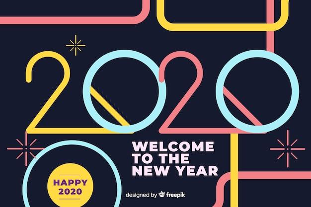 新しい年の2020年フラットデザインへようこそ