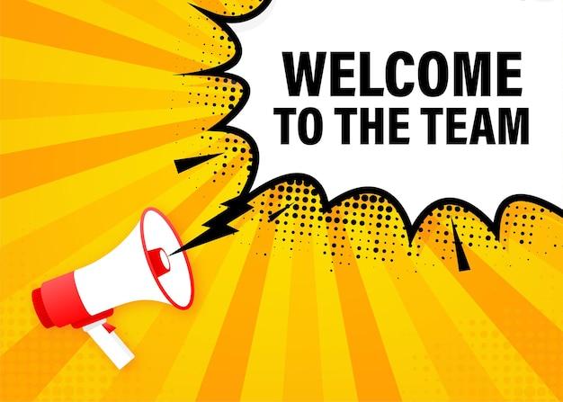 Добро пожаловать в команду мегафон желтый баннер в стиле 3d иллюстрации.