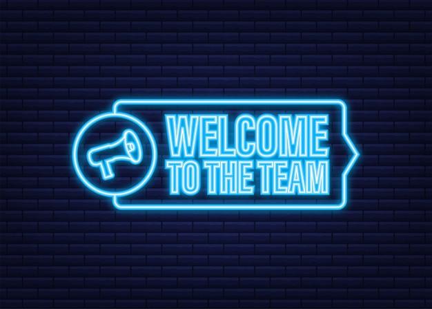레이블에 적힌 팀에 오신 것을 환영합니다. 네온 아이콘입니다. 광고 기호입니다. 벡터 재고 일러스트 레이 션.