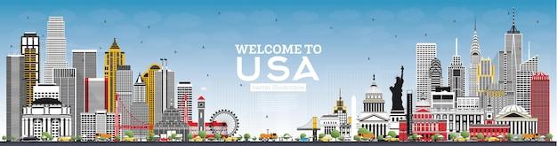 회색 건물과 푸른 하늘이 있는 usa 스카이라인에 오신 것을 환영합니다. 미국의 유명한 랜드마크. 벡터 일러스트 레이 션. 역사적인 건축과 여행 및 관광 개념. 랜드마크가 있는 미국 풍경입니다.