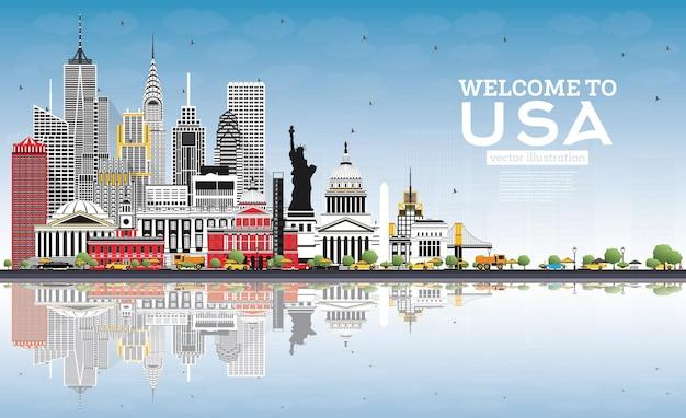 회색 건물, 푸른 하늘 및 반사가 있는 usa 스카이라인에 오신 것을 환영합니다. 미국의 유명한 랜드마크. 벡터 일러스트 레이 션. 역사적인 건축과 관광 개념입니다. 랜드마크가 있는 미국 풍경입니다.