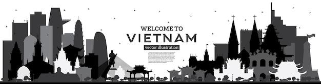 흰색 벡터 일러스트 레이 션에 고립 된 검은 건물 베트남 스카이 라인 실루엣에 오신 것을 환영합니다