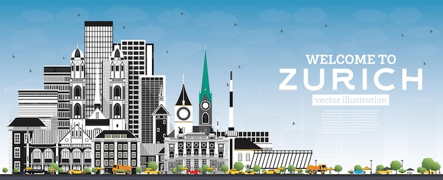 회색 건물과 푸른 하늘이 있는 취리히 스위스 스카이라인에 오신 것을 환영합니다. 벡터 일러스트 레이 션. 역사적인 건축과 관광 개념입니다. 랜드마크가 있는 취리히 도시 풍경.