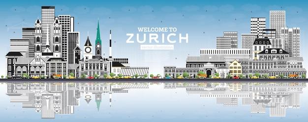 회색 건물, 푸른 하늘 및 반사가 있는 취리히 스위스 스카이라인에 오신 것을 환영합니다.