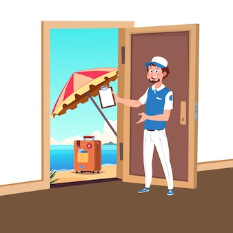 Welcome to travel vector with tourism manager illustration