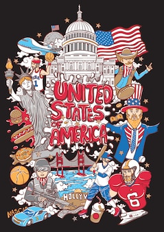 Welcome to united states of america illustration