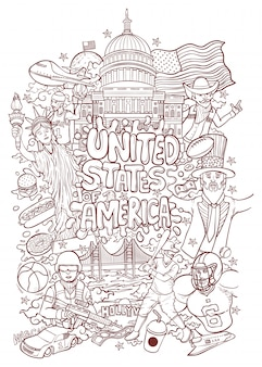 Welcome to united states of america outline illustration