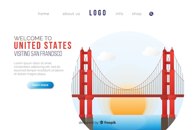 Welcome to usa landing page template