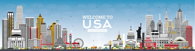 Welcome to usa skyline with gray buildings and blue sky. famous landmarks in usa. vector illustration. travel and tourism concept with historic architecture. usa cityscape with landmarks.