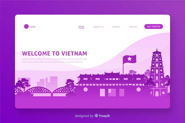 Welcome to vietnam landing page flat design