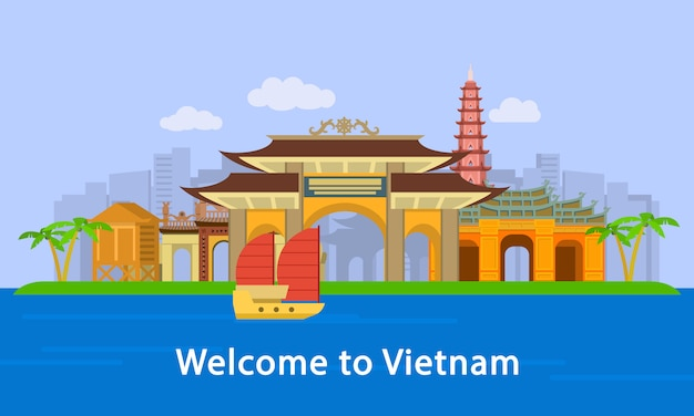Welcome to vietnam location concept banner, flat style
