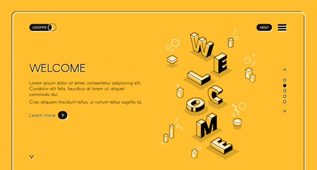 Welcome web main page illustration of word letters in isometric black thin line design