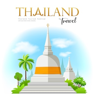 Welcome to white pagoda with fabric yellow wat phra mahathat woramahawihan southern of thailand