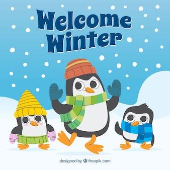 Benvenuto sfondo invernale con pinguini