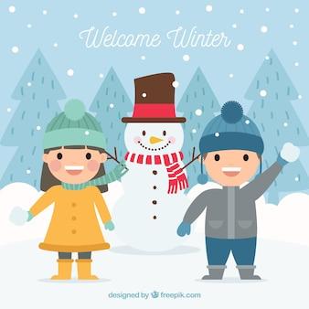 Benvenuto sfondo piatto invernale con i bambini