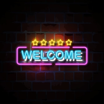 Welcome with five stars neon style sign illustration