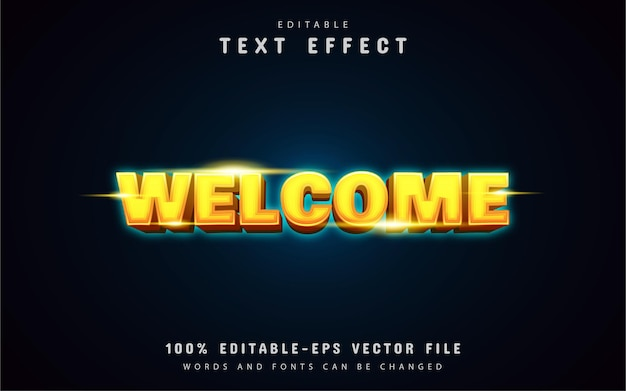 Welcome yellow neon text effect