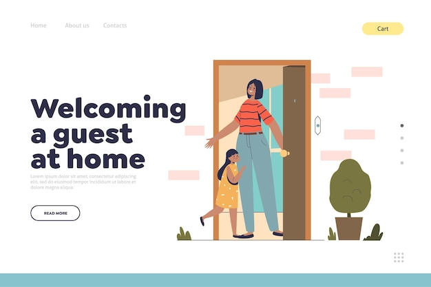 Welcoming guest at home concept of landing page