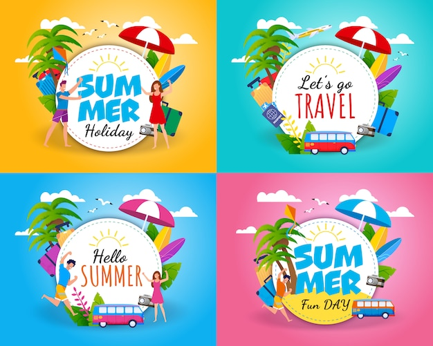Welcoming and invitation summer card set on color