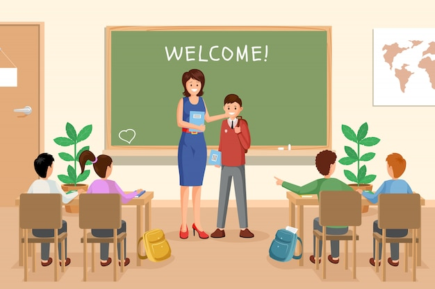 Welcoming new schoolboy illustration