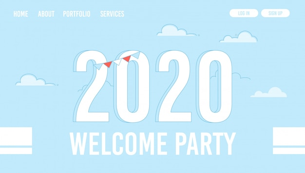 Welcoming for new year xmas celebration webpage