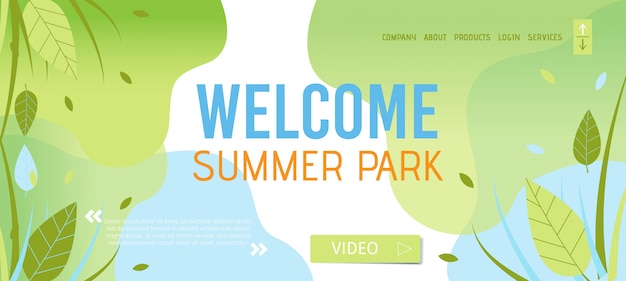 Welcoming to summer park landing page template