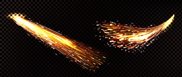 Weld sparks isolated on transparent
