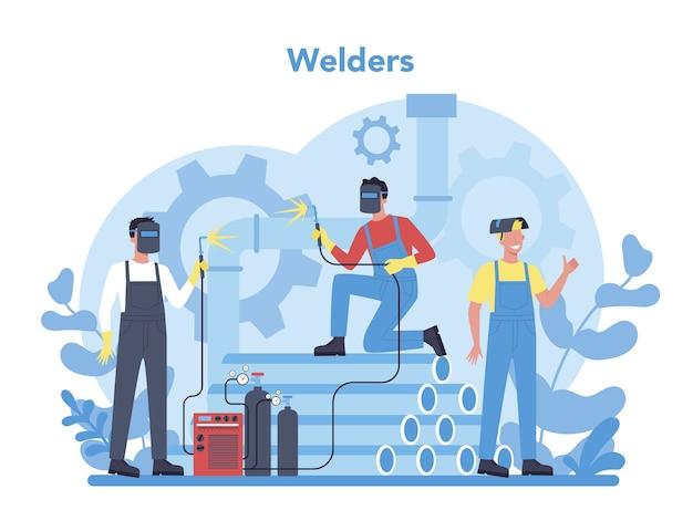 溶接機および溶接サービスの概念。保護マスクと手袋のプロの溶接工。均一な溶接金属パイプと鋼製の構造の男。産業の職業。ベクトルイラスト