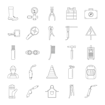 Welder equipment icons set